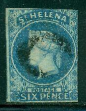 ST. HELENA 1 SG1 Used 1856 6p blue QVIC Wmk Star Imperf 2/4 Margins Cat$225