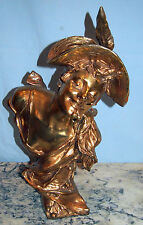 "STRAETEN VAN DER 19.75"" GILT BRONZE LADY WITH CHERRYS IN HER MOUTH WITH FOUNDRY"