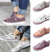 Women's Zipper Canvas Slip-on Athletic Trainers Sneakers Casual Shoes Size 6-9