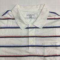 Croft & Barrow Polo Shirt Men's 2XL XXL Short Sleeve White Red Blue Striped