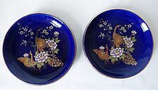 2 Blue and Gold Peacock Pin Trays - Cup Cake Plates - Coasters