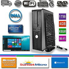 Fast Dell Desktop Computer PC Core 2 Duo 3.0Ghz 4GB RAM 1TB DVD Windows 10 WI-FI