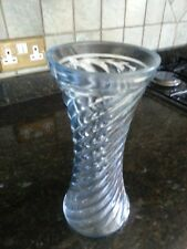 Large ~ Heavy ~  Art glass Vase ~ Clear ~ Swirl design ~