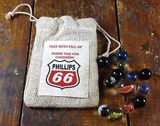 Phillips 66 Free With Fill Up Advertising Burlap Drawstring Bag of Glass Marbles