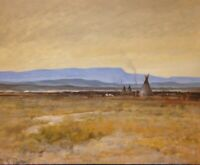 Native American West Western Plains Indian Art Oil Painting Montana Wyoming Tipi