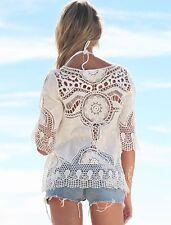 New White Crochet Embroidery Sheer Beach Cover Up Bikini Casual Tops One Sz 8-14