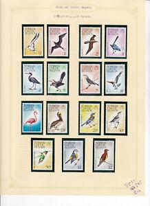 TURKS & CAICOS 1973 BIRDS STAMP SET 15 VALUES MNH BIRDS SG 381-395