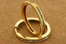 14K Gold 20mm Genuine Diamond Hoop Earrings Round Cut Channel Set Mens Ladies