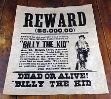 Old West Style Billy the Kid $5,000 Reward Wanted Dead or Alive Paper Poster