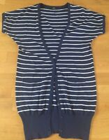 MARKS AND SPENCER M&S long blue and white striped cardigan Size UK 10