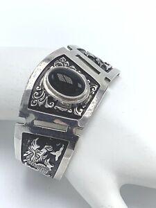 "Suarti BA Vintage .925 Sterling Silver Black Onyx Carved Dragon Cuff Bracelet 6"""