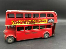 """Vintage London Double Decker Bus Tri Ang Minic Made in England Metal Large 7"""""""