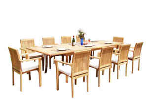 """11pc Grade-A Teak Dining Set 118"""" Rectangle Table 10 Lua Stacking Arm Chairs"""