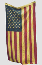 Tea-stained USA LG FLAG ~ 100% cotton ~59 X 28 inches~ stitched stars ~ FL03