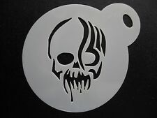 Laser cut small zombie skull design cake, cookie,craft & face painting stencil