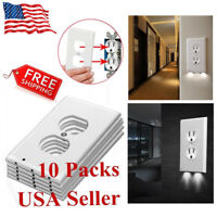 10 Pack LED Night Angel Duplex Plug Cover Sensor Light  Wall Outlet Coverplate