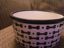 "NEW Pet Trends 6"" Diameter x 2.75"" Tall Ceramic BONES Ivory/Black Dog Bowl"