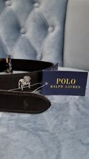 Men's POLO-RALPH LAUREN Black With BULLDOG Striped Belt Size 34With Buckle .