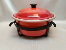 3 QT ENAMEL ON STEEL CASSEROLE  WITH LID & TRIVET/ HOLDER  FLAME RED