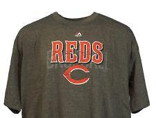 Cincinnati Reds MLB Majestic Weathered Logo Grey T-Shirt, Men's Big & Tall
