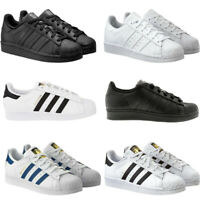 Adidas Kids Boys Trainers Originals Superstar Casual School Shoes Black Leather