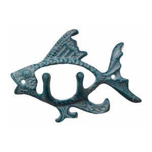 Blue Fish Bathroom Kitchen Pool or Boat House 2 Hooks Ocean Sea Beach Cast Iron