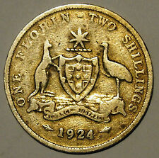 1924 Florin - King George V - Australia - Average Circulated - Sterling Silver