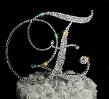 "Handmade Clear Crystals 6"" Wedding Cake Topper Monogram Letter ""E"""