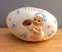 Vintage NAPCO Baby Boy Football Ceramic Planter Nursery