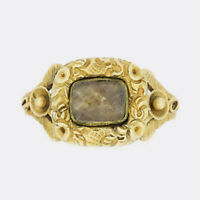 Gold Georgian Ring- Georgian Ornate Hair Locket Mourning Ring 15ct Yellow Gold