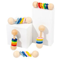 Safe Baby Teething Sensory Toy Natural Wood Ring Stroller Rattle Educational Toy