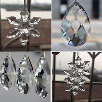 10Pcs Clear Crystal Glass Chandelier Lamp Water Drop Pendant Jewelry Making DIY