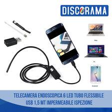 TELECAMERA ENDOSCOPICA 6 LED TUBO FLESSIBILE USB 1,5 MT IMPERMEABILE ISPEZIONE