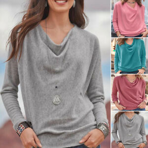 Women Casual T Shirt Ladies Long Sleeve Plain Tops Loose Blouse Tunic Pullover