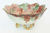Limoges France Hand Painted Antique Footed Bowl Berries Grapes Motif