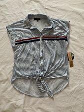 Almost Famous Women's Bree Blue Stripe Tie Front Button Up Shirt Size M