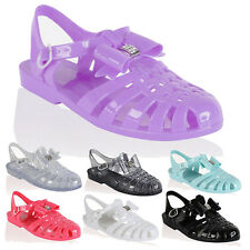 WOMENS GIRLS KIDS JELLY JELLIES SANDALS DIAMANTE BOW RETRO SUMMER BEACH SIZE