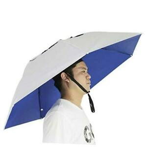 Fishing Umbrella Hat Folding Sun Rain Cap Adjustable .Silver/ Blue