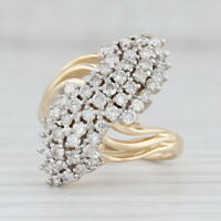 0.90ctw Diamond Cluster Ring 14k Yellow Gold Size 6 Bypass Band Cocktail