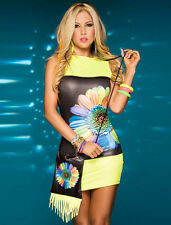 New yellow floral print bodycon mini dress summer dress club wear Size M UK 10