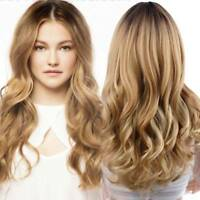 New Women Fashion Wig Full Synthetic Long Wavy Hair Ombre Blonde Party Wigs+Cap