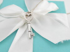 TIFFANY & CO SILVER HEART KEY PENDANT CHARM NECKLACE BOX INCLUDED