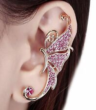 Rhinestone Crystal Butterfly Ear Cuff Clip Sweep Wrap Earrings Pink ECF06