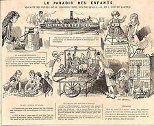 PARIS LE PARADIS DES ENFANTS MAGASIN DE JOUETS TOYS PERREAU PUBLICITE 1880