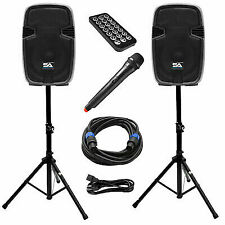 Active 12 Inch PA Speaker System - Bluetooth, Wireless Mic, Stands and Cables
