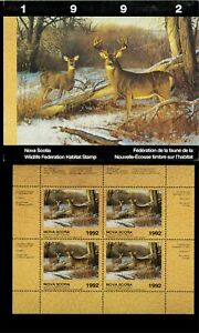 NOVA SCOTIA #1M WHITETAIL DEER CONSERVATION STAMP MINI SHEET OF 4 IN FOLDER