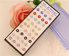FLOWER STUD EARRINGS 20 PAIR MULTI COLOUR FLOWER BLING STUD EARRINGS RHINESTONE
