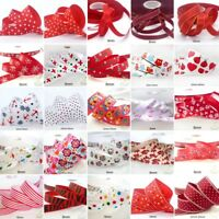 "25x1Yard Assorted Satin Grosgrain Ribbon Lot 3/8""--1.5"" Red Theme Craft Bow-B"