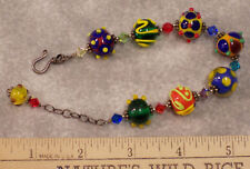 Lampwork Glass Bead & Crystal Stone Bracelet Colorful Textured Beads Beaded
