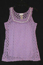 Guess girls purple 2pc Lace & Bead Accent fancy Summer Shirt Top Sz 16 Mint